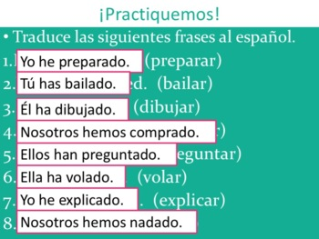 Spanish Present Perfect -AR Verbs Powerpoint & Notes