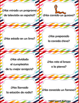 Spanish Present Perfect Conversation Cards