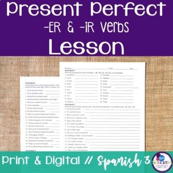 Spanish Present Perfect -ER & -IR Verbs Lesson