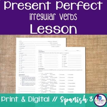 Spanish Present Perfect Irregular Verbs Lesson
