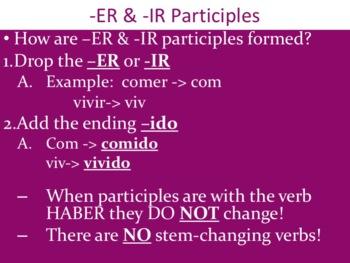 Spanish Present Perfect -ER & -IR Verbs Powerpoint & Notes