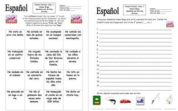 Spanish Present Perfect ¿Has...? Human Bingo Game Speaking Activity