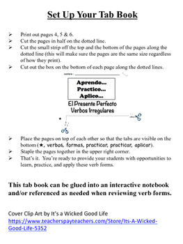 Spanish Present Perfect (Irregular) Tab Book