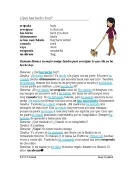 Spanish Present Perfect Reading - ¿Qué has hecho hoy? - Presente de perfecto