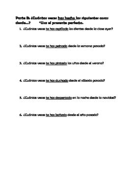 Spanish Present Perfect & Reflexive Practice + Bonus