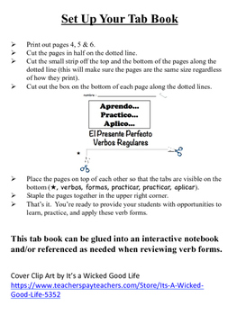 Spanish Present Perfect (Regular) Tab Book