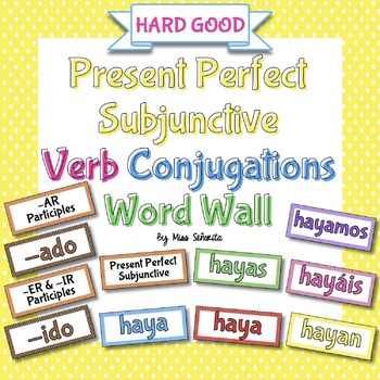 Spanish Present Perfect Subjunctive Verb Conjugations Word