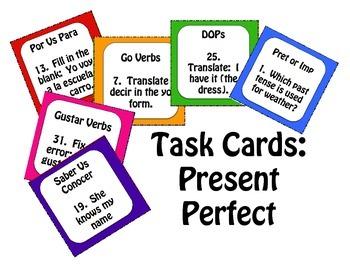 Spanish Present Perfect Task Cards