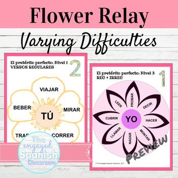 Spanish Present Perfect Tense Flower Relay: El Pretérito Perfecto
