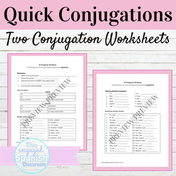 Spanish Present Perfect Tense Quick Conjugations Worksheets