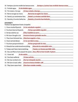 Spanish Present Perfect -ER & -IR Verbs Writing Activities