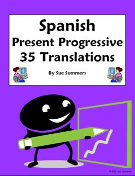 Spanish Present Progressive 35 Spanish to English Translations Worksheet