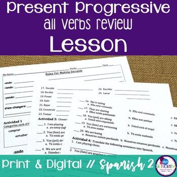 Spanish Present Progressive All Verbs Review Lesson
