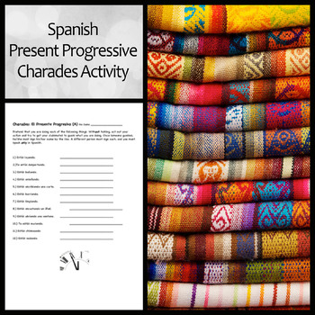 Spanish Present Progressive Charades Activity