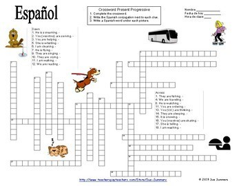 Spanish Present Progressive Crossword and Image IDs