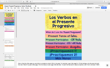 Spanish Present Progressive Digital Flip Book