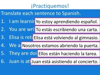 Spanish Present Progressive -ER & -IR Verbs Powerpoint & Notes