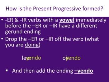 Spanish Present Progressive -ER & -IR -yendo Verbs Powerpoint & Notes