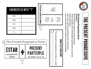 Spanish Present Progressive Interactive Notebook Page