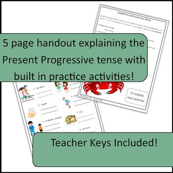 Spanish Present Progressive: Interactive Notes, Handout, Explanation, PRACTICE!