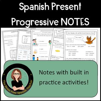 Spanish Present Progressive: Interactive Notes, Handout, E