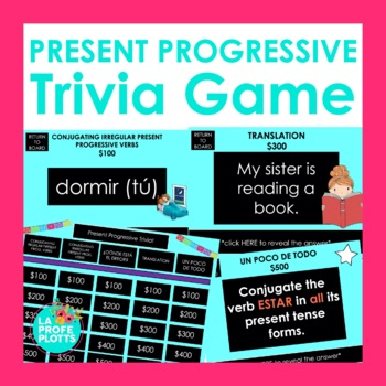 Spanish Present Progressive Jeopardy-Style Trivia Game
