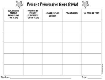 Spanish Present Progressive Jeopardy-Style Trivia Game (REGULAR VERBS ONLY)