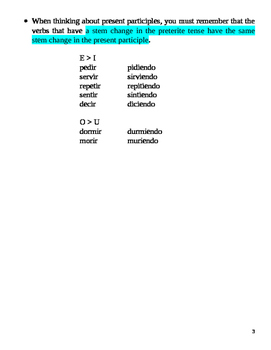 Spanish: Present Progressive Notes and Practice