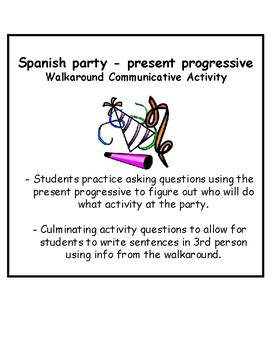 Spanish Present Progressive Party Vocab Walkaround