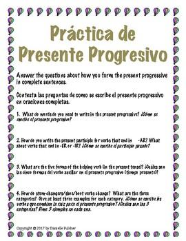 Spanish Present Progressive Stations Practice