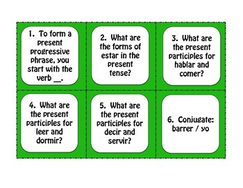 Spanish Present Progressive Task Cards