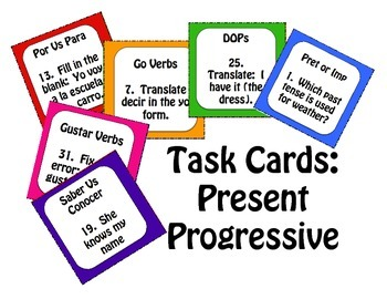 Spanish Present Progressive Task Cards
