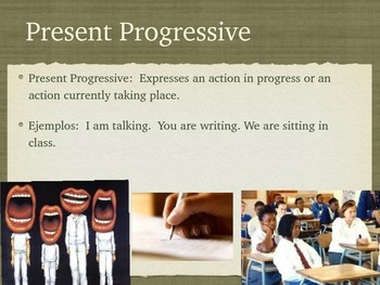 Spanish Present Progressive Tense PowerPoint Slideshow Presentation