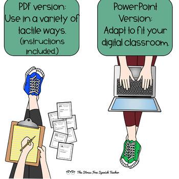 Spanish Present Progressive Tense Task Cards! Editable! 48 cards! INK FRIENDLY