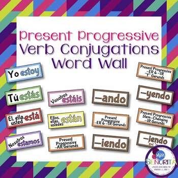 Spanish Present Progressive Verb Conjugations Word Wall &