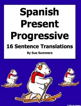 Spanish Present Progressive Verbs 16 Translations Worksheet