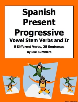 Spanish Present Progressive Vowel Stem Verb Translations Worksheet