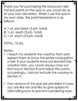 Spanish Present Progressive Worksheet or Quiz
