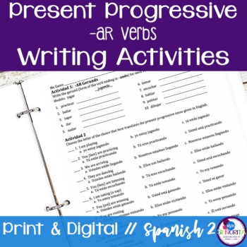 Spanish Present Progressive -AR Verbs Writing Exercises