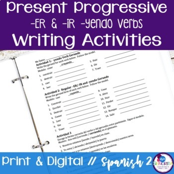 Spanish Present Progressive -ER & -IR -yendo Verbs Writing