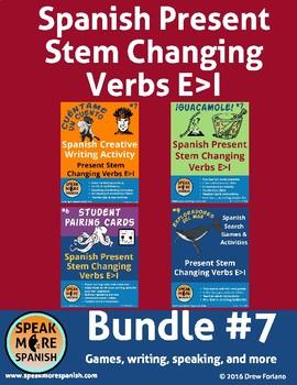 Spanish Present Stem Verbs E>I Bundle #7 * Verbos con cambios E>I en Español