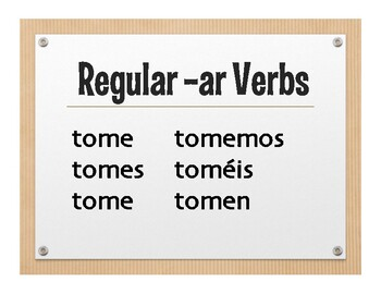 Spanish Present Subjunctive Conjugation Wall Charts