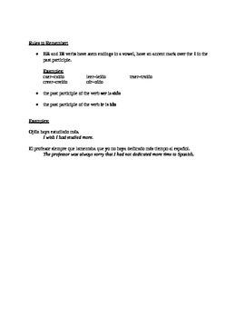 Spanish: Present Subjunctive Perfect Notes