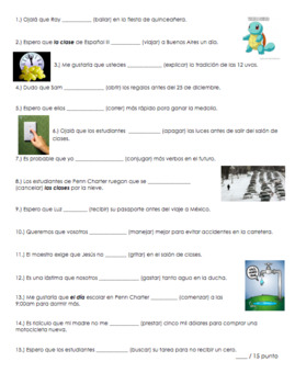 Spanish Present Subjunctive Quiz Regular Verbs | El presente de subjuntivo