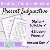Spanish Present Subjunctive Tense Reading Comprehension