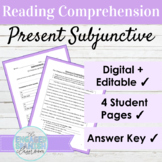 Editable Spanish Present Subjunctive Reading and Activitie