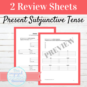 Spanish Present Subjunctive: Review and Dice Games for Regular + Irregular verbs