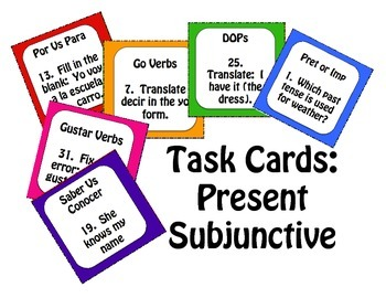 Spanish Present Subjunctive Task Cards