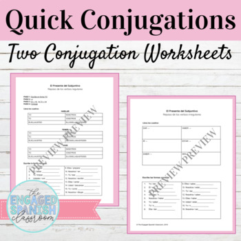 Spanish Present Subjunctive Tense Quick Conjugations Worksheets
