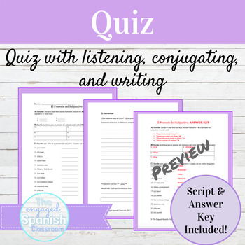 Spanish Present Subjunctive Tense Quiz with Answer Key